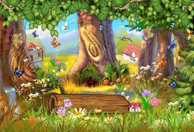 Волшебный лес с большими деревьями и