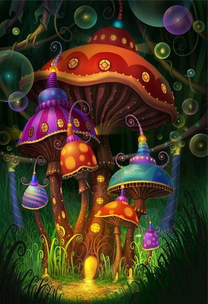 Волшебный дворец из сказочных грибов в глубине лесной чащи для именинницы АНФИСЫ - 3 мес. - это сила .